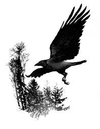 trees and flying crow tattoo design