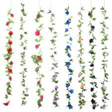 new artificial fake silk rose flower ivy vine hanging garland
