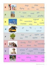 7 free esl sentences structure worksheets