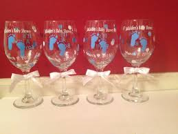 baby shower wine glasses but with pink little foot prints mommy