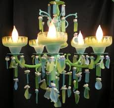 Beach Glass Chandelier Mark Peyton Blue Green Glass Chandelier