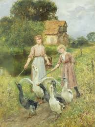 for sale by artist henry yeend king herding geese painting for sale