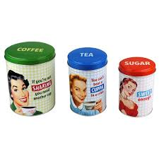 retro style coffee tea u0026 sugar set of 3 tin canisters amazon