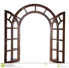 open arched wooden door on a white background stock image image