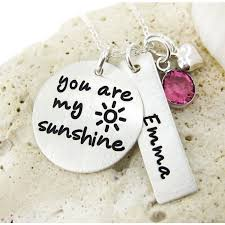 Personalized Hand Stamped Jewelry Jc Jewelry Design You Are My Sunshine Necklace Birthstone And