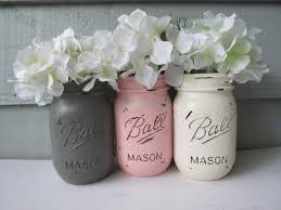 Mason Jar Vases Wedding Painted And Distressed Ball Mason Jars Light Pale Pastel Pink
