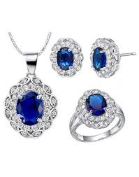 sapphire earrings necklace set images Sapphire simulated crystal floral wedding jewelry set for bridal jpg