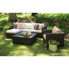 Wicker Patio Table Set Biscayne 5 Wicker Sectional Seating Patio Furniture Set Target