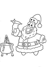 patrick santa ringing christmas bell coloring pages