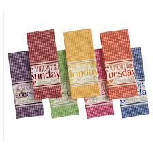 days of the week printed dishtowels set of 7 design imports