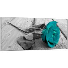 Black White Turquoise Teal Blue by Modern Black And White Canvas Wall Art Of A Teal Rose Flower