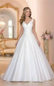 ball gown v neck low back ruched taffeta wedding dress with buttons