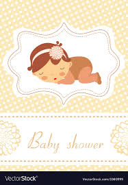 baby shower card baby shower card with sleeping baby girl vector image