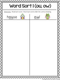 word sort ou ow by twirly whirly teaching teachers pay teachers