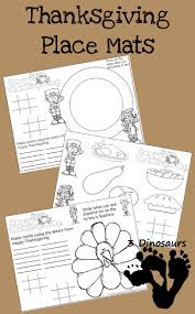 free thanksgiving place mats printable 3 dinosaurs
