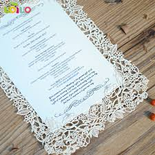 wedding menu cards paper laser cutting invitation cards lace design european