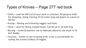 types of knives kitchen knife cuts ppt