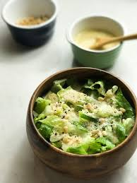 romaine salad with a creamy roasted garlic dressing all day i