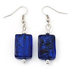 navy blue earrings navy blue square glass drop earrings 4 5cm length co uk
