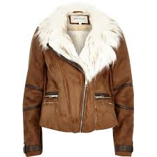 river island tan brown faux suede fitted biker jacket in brown lyst