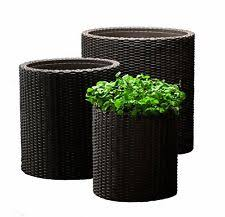 outdoor plant containers metal pot set patio garden flowers yard