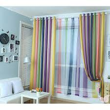 rainbow multi color blackout striped curtains for bedroom