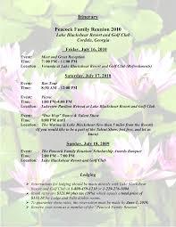 sample family reunion program templates itinerary peacock family