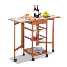 homcom folding rolling trolley kitchen cart table island with