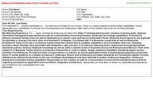 cover letter for architect enterprise architect cover letter