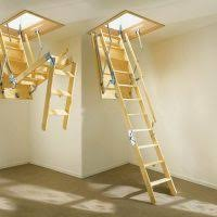 furniture wooden folding attic loft stairs and door with stair