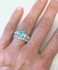 zircon engagement rings blue zircon engagement ring in 14k white gold with 3 wedding