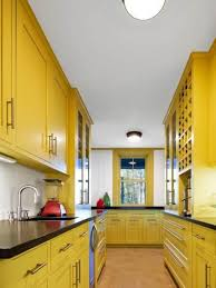 Yellow Kitchen Cabinet Kitchen Yellow Kitchen With Bright Paint Color Also Light Brown