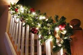 Christmas Lights For Stair Banisters Christmas Garlands For Stairs U2013 Happy Holidays