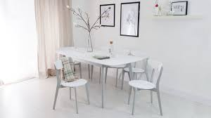 White Extending Dining Table And Chairs Aver Grey And White Extending Dining Table With Senn Dining Chairs
