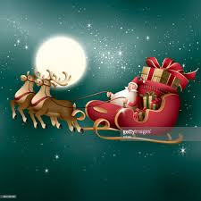 santa and his reindeer riding past the full moon vector art