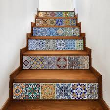 set creative diy 3d stairway stickers ceramic tile pattern for
