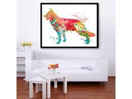 cat home decor shepherd watercolor print dog poster dog home decor watercolor