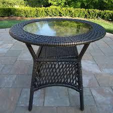 round wicker end table shop oakland living elite resin wicker 25 in w x 25 in l round steel