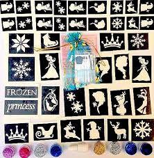 glitter tattoo kit frozen 50 stencils 8 glitters glue elsa olaf