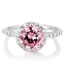 birthstone ring silvertone october imitation birthstone ring pink cz