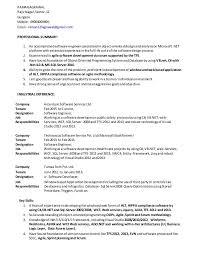 Resume For 1 Year Experienced Software Engineer Resume Examples For Net Developer Resume Ixiplay Free Resume Samples