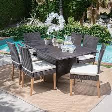 santa barbara outdoor 7 piece rectangular wicker dining set with