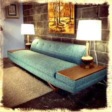 Mid Century Couch by Love The Legs And Built In End Tables On This Adrian Pearsall Blue