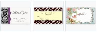 business cards as table place settings for wedding receptions