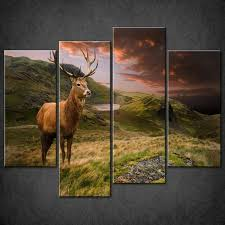 Home Decor Red Deer Red Abstract Foliage Large Canvas Wall Art Picture Print Home