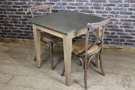 ZINC KITCHEN TABLE INDUSTRIAL LOOK PINE BASE - Small pine kitchen table