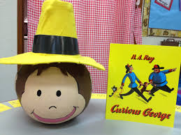 curious george character pumpkin reading pinterest curious