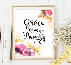 home decor prints grace and beauty printable quote wall art print decor boho