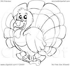 cartoon of an outlined cute turkey bird royalty free vector