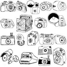 great collection of different photo camera sketch over white